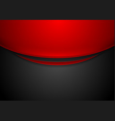 contrast red and black wavy corporate background vector image