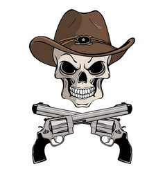 cowboy skull in a western hat and a pair of vector image