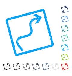 Curve arrow icon rubber watermark vector