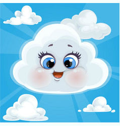 cute cartoon cloud surrounded a halo glow vector image