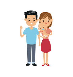 cute couple parents carrying her baby vector image
