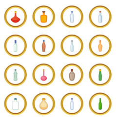 Different bottles icons circle vector