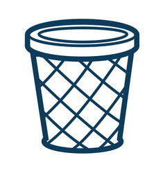 Dustbin or circle container for garbage silhouette vector