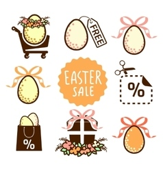 Easter sale icons vector