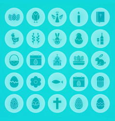 Easter solid circle icons vector