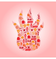 Fire brigade icons in flame shape eps10 vector