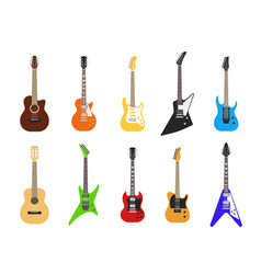 flat guitars acoustic and electric guitar musical vector image