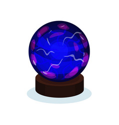 Flat icon of bright blue magic ball with vector