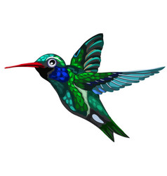Flying green-blue bird hummingbird colibri vector