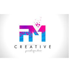 Fm f m letter logo with shattered broken blue vector