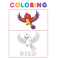 Funny bird coloring book with example preschool vector
