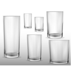 glass glasses empty set of realistic isolated vector image