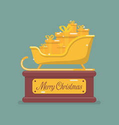 golden santa sleigh trophy vector image
