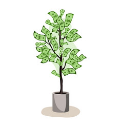 green potted tree growing currency with dollar vector image