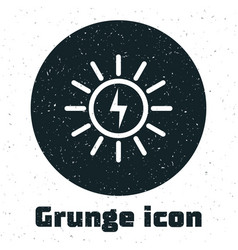 Grunge solar energy panel line icon isolated on vector