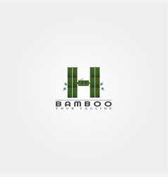 h letter bamboo logo template creative design for vector image