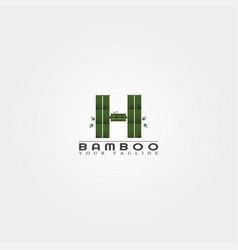 H letter bamboo logo template creative design vector