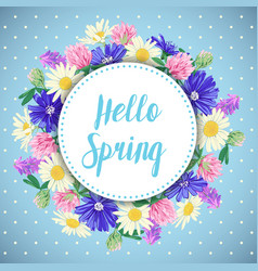 hand drawn spring card with wildflowers wreath vector image