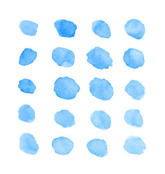 Hand painted blue watercolor blots and spots vector