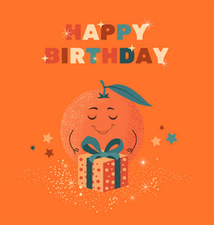 Happy birthday greeting card with funny orange vector