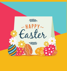 happy easter holiday with painted eggs and flowers vector image