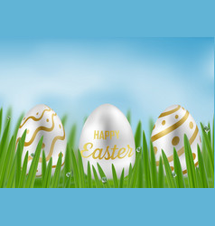 happy easter with green grass and easter egg vector image