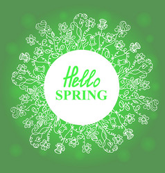 Hello spring floral doodles wreath vector