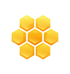 Hexagon glossy cells with tasty honey vector