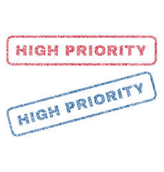 High priority textile stamps vector