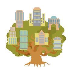House on tree office buildings on oak alligory vector