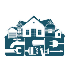 Housing repair symbol for business vector