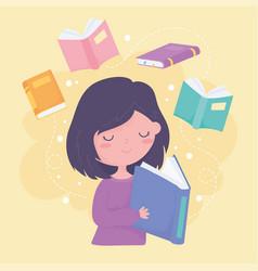 international literacy day girl reading textbook vector image