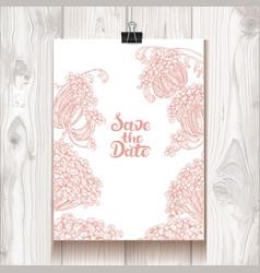 invitation with chrysanthemum hanging on binder vector image