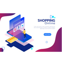 isometric online shopping man stand on smartphone vector image