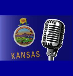 Kansas flag and microphone vector