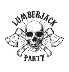 lumberjack party human skull with crossed vector image