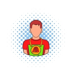 Man in uniform icon comics style vector image