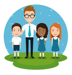 Man teacher with students in the park vector