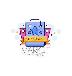 market design logo bright sale badge design vector image