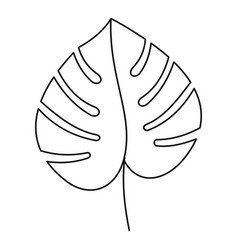 Monstera leaf icon outline style vector