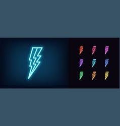 neon lightning bolt icon glowing neon thunder vector image