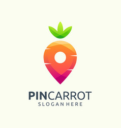Pin carrot logo design vector