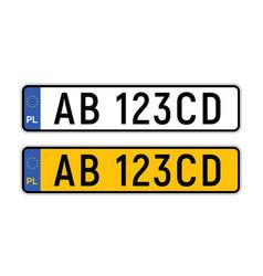 Poland plate license registration car number vector