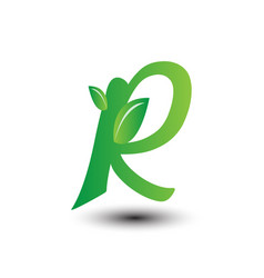 R green leaves letter ecology logo vector