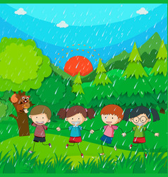 raining scene with kids in the park vector image