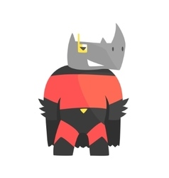 Rhinoceros Smiling Animal Dressed As Superhero vector image