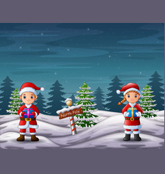 Santa claus holding a gift box in north pole lands vector