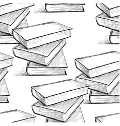 seamless pattern of the books sketches vector image