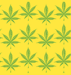 seamless pattern with drawn cannabis leaves vector image