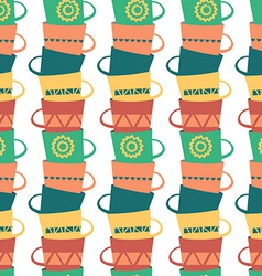 Seamless Pattern with Piles of Stacked Colorful vector image
